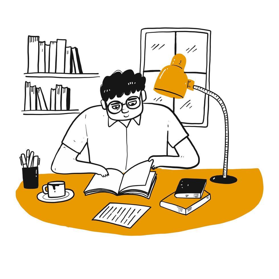 Hombre de dibujos animados leyendo un libro vector