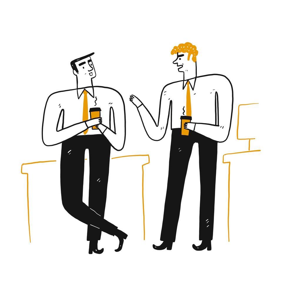 Deux, hommes affaires, conversation, boire, café vecteur