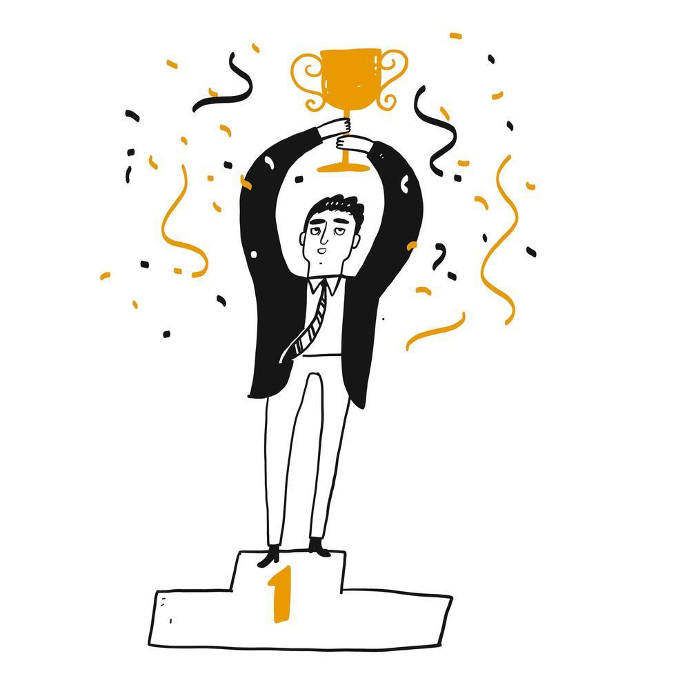 Hombre de negocios acertado que sostiene un trofeo vector