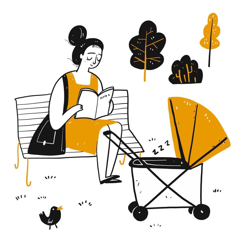Libro de lectura de la joven madre de dibujos animados en el parque con bebé vector