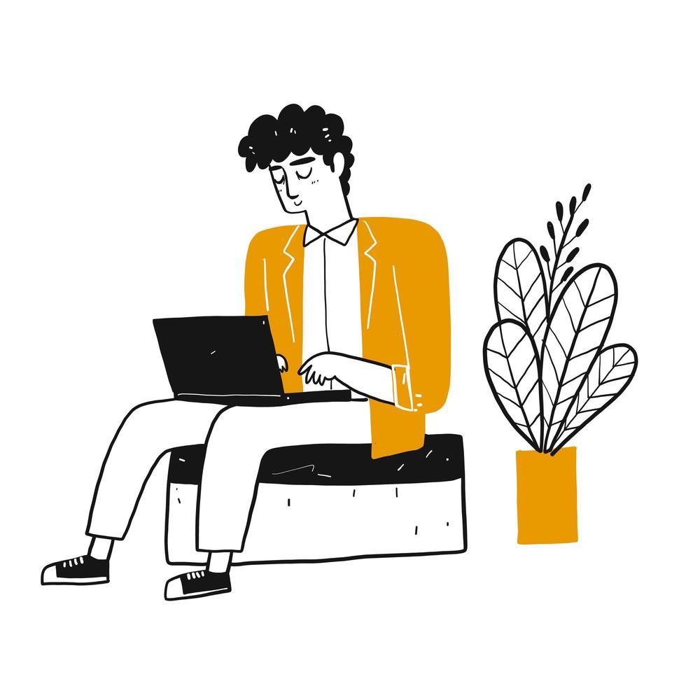 Homme de dessin animé sur ordinateur portable vecteur