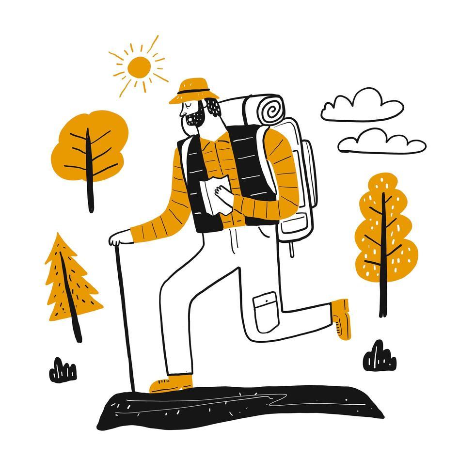 Alpinista masculina caminhadas. vetor