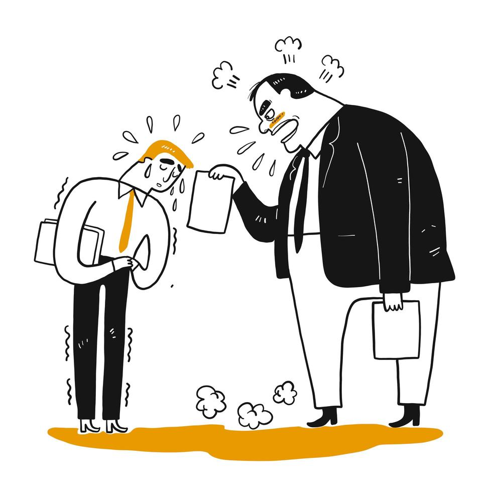 Chefe zangado, gerente, reclamando ao trabalhador de escritório empregado vetor