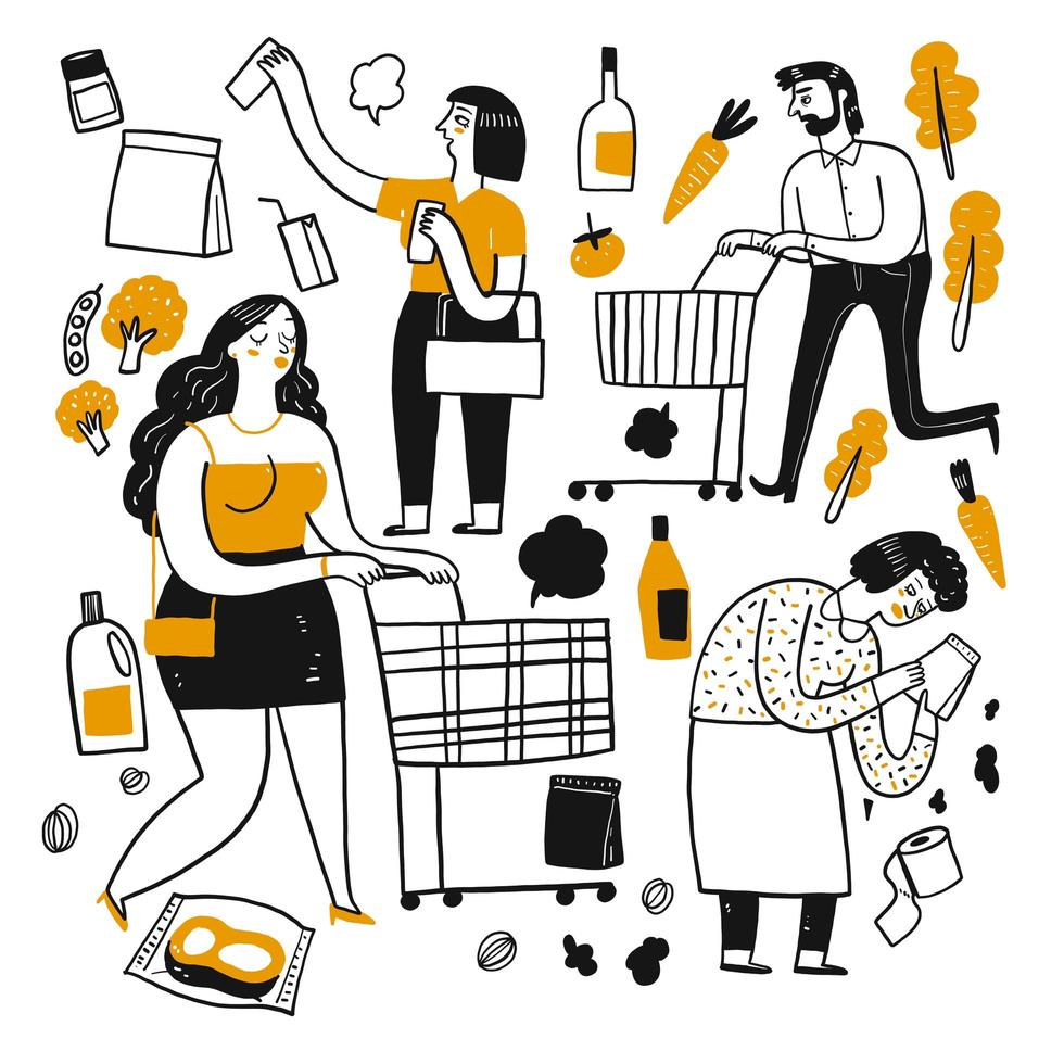 Cartoon people in supermarket vector