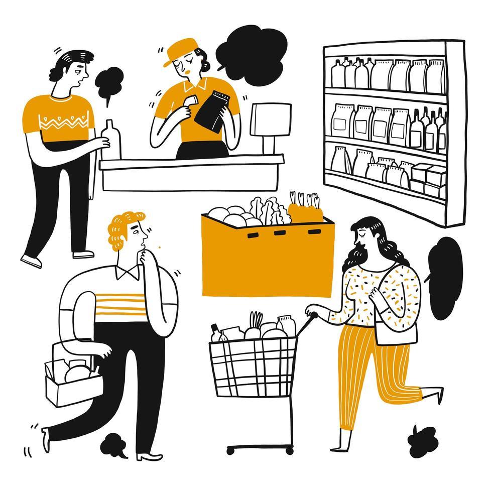 Cartoon people shopping in supermarket  vector