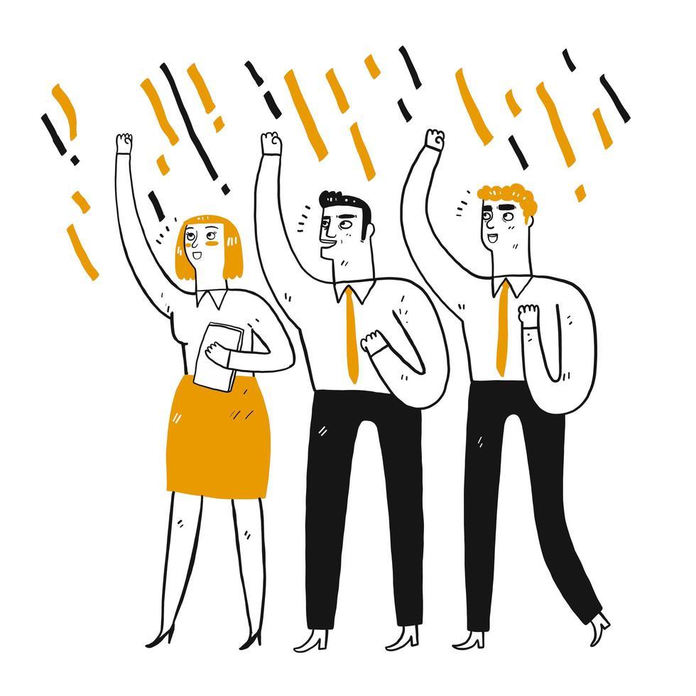 Empresários e mulher punho fechado levantando no ar vetor
