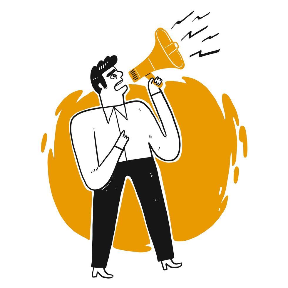 Affärsman som ropar till och med högtalaren vektor