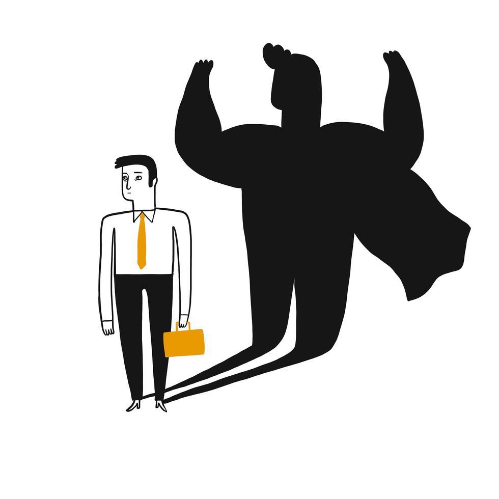 Conceptenillustratie van een bedrijfsmens met superheroschaduw vector