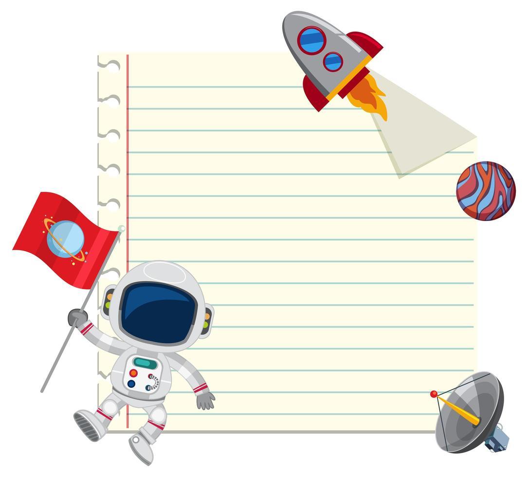 Papel de nota de tema de espaço com elementos de espaço vetor