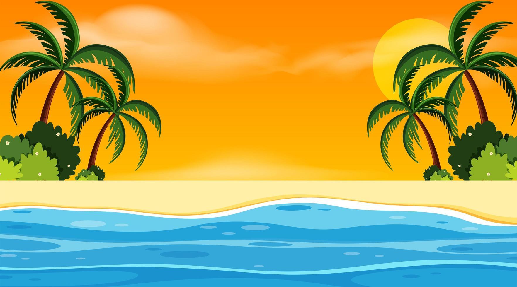 Diseño de fondo de paisaje con playa al atardecer vector
