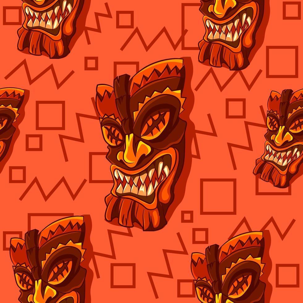 Tiki wooden mask background vector