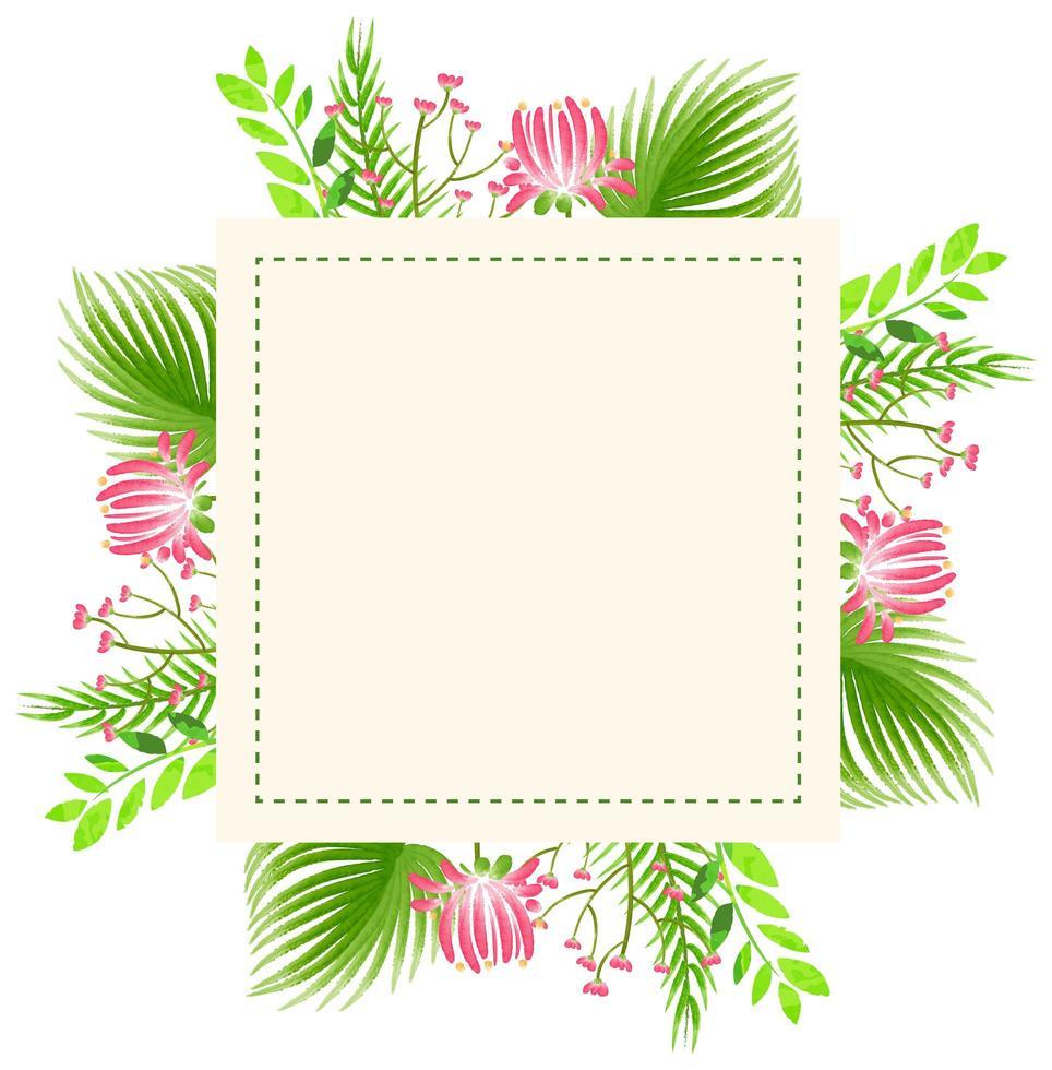 Design del telaio con fiori e foglie vettore