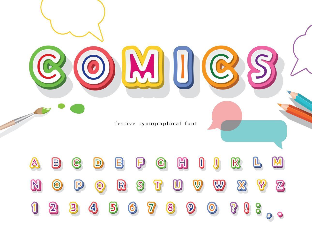 Fuente de comics 3d. Papel de dibujos animados recorta números y letras ABC. vector
