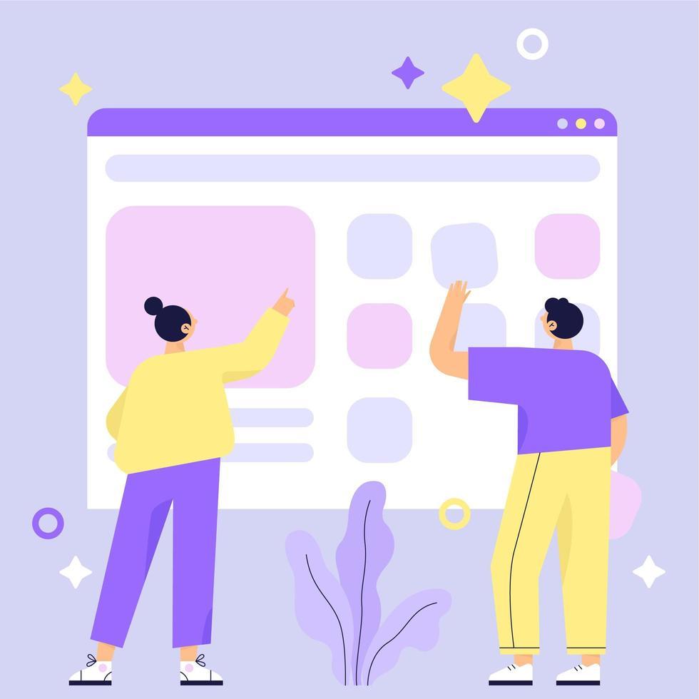 Website bouwen met twee personen vector