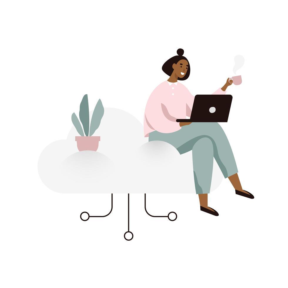 Kvinna som arbetar på en bärbar dator och sitter på ett moln vektor