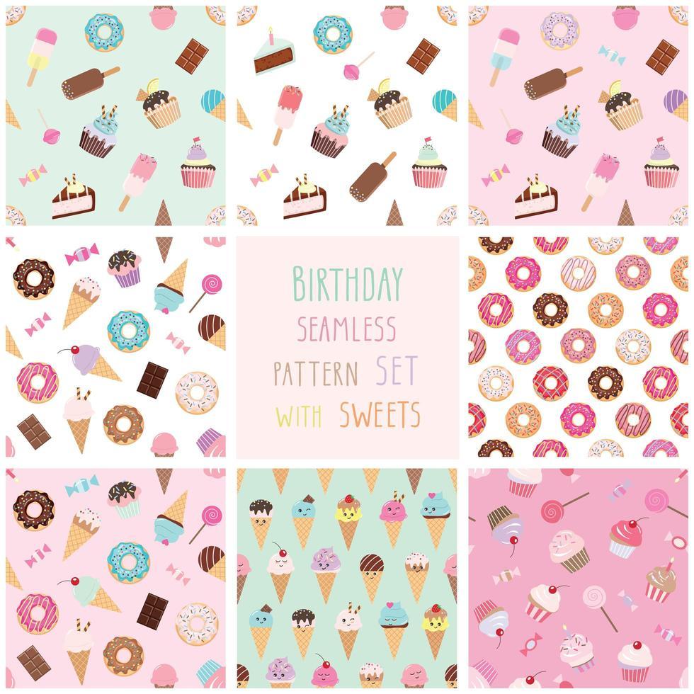 Lindo patrón transparente con diferentes dulces. vector