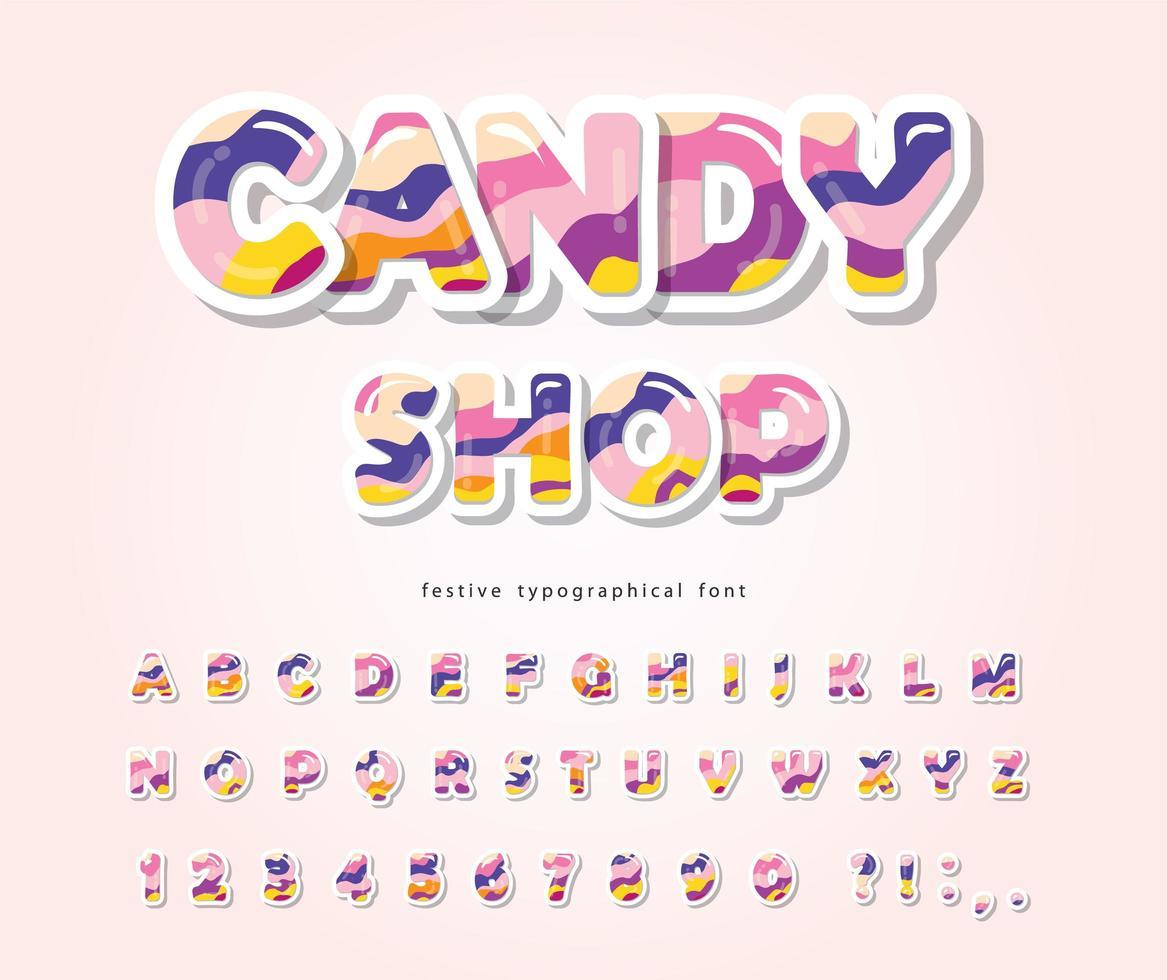 Candy ABC letras y números. Alfabeto 3d brillante. vector