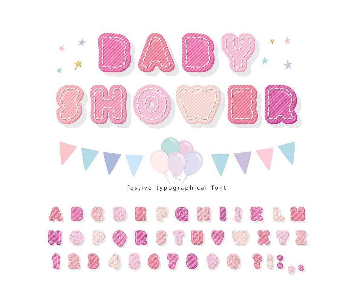 Baumwollbeschaffenheitsalphabet für Mädchen. Baby-Dusche-Design. vektor