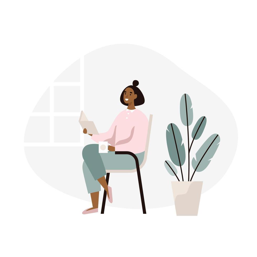 Frauen-sitzendes und Lesebuch zu Hause vektor