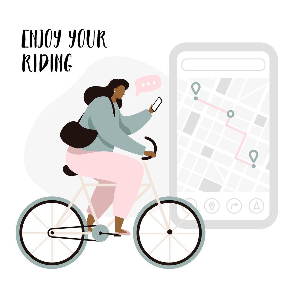 Mujer ciclista disfrutando del montar a caballo vector