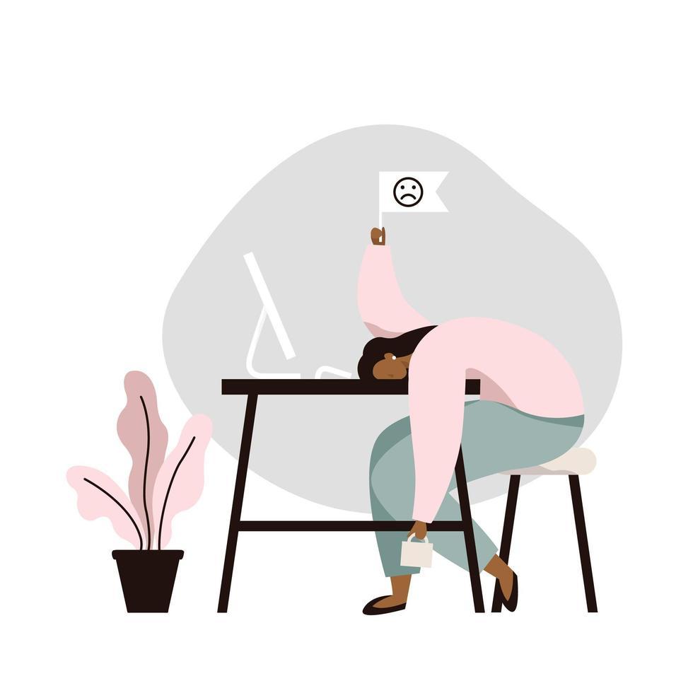 Burnout profissional no trabalho. Trabalhadora cansada. vetor