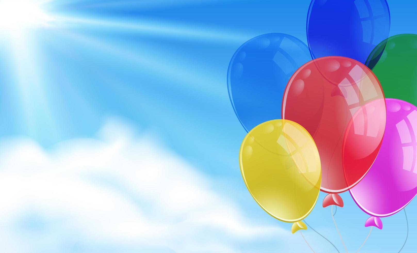 tas de ballons dans la scène du ciel vecteur