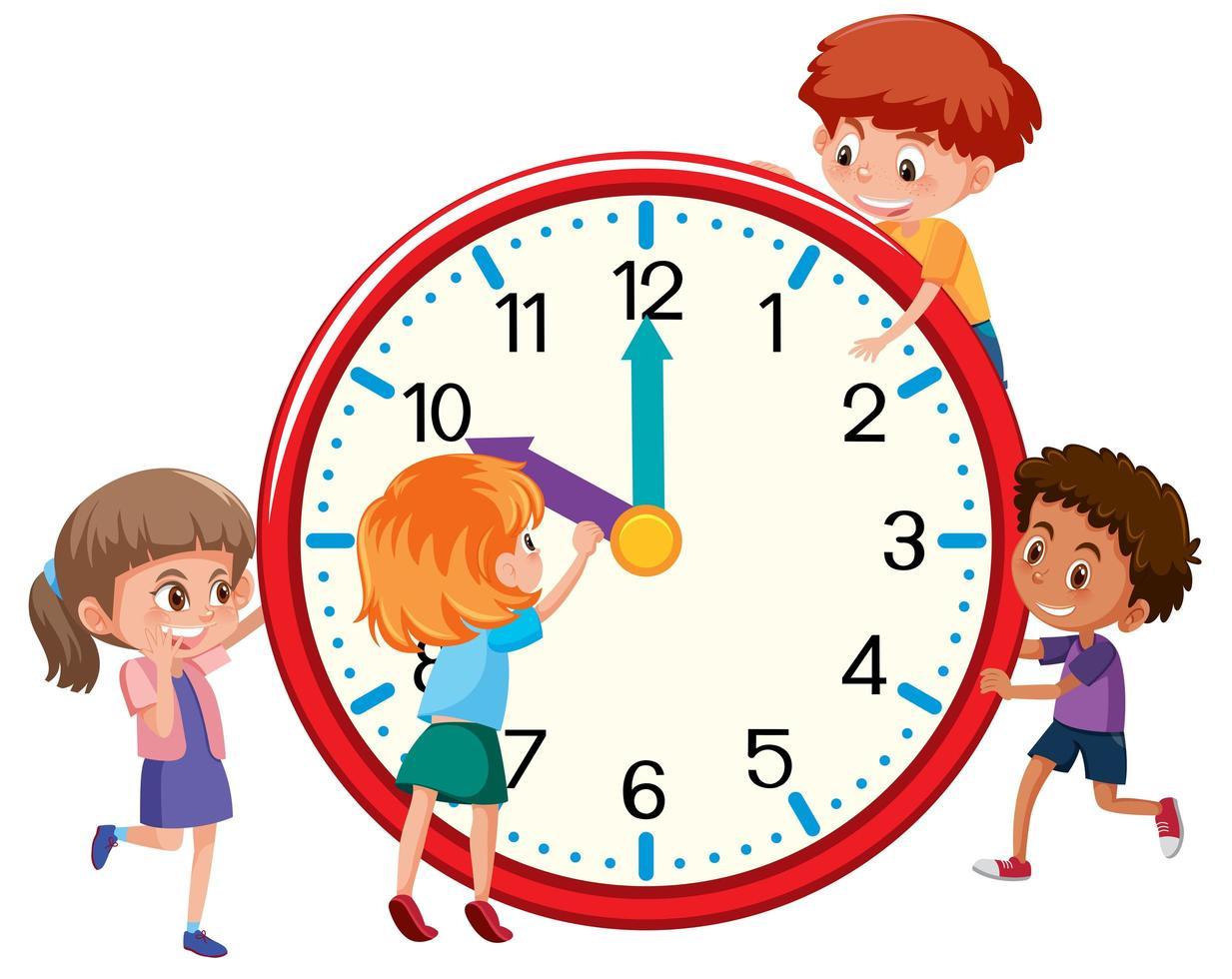 Enfants autour d'une horloge vecteur