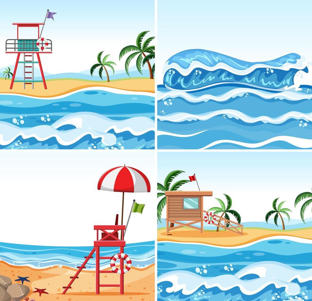 Set zomer strand achtergronden vector