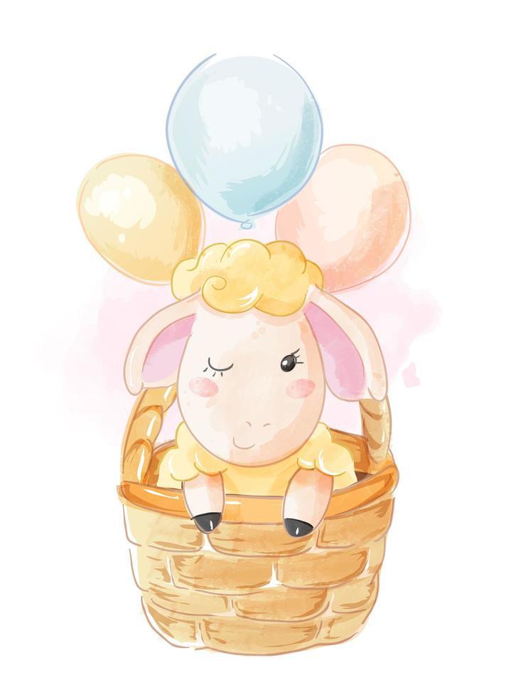 ovelhas na cesta com balões vetor