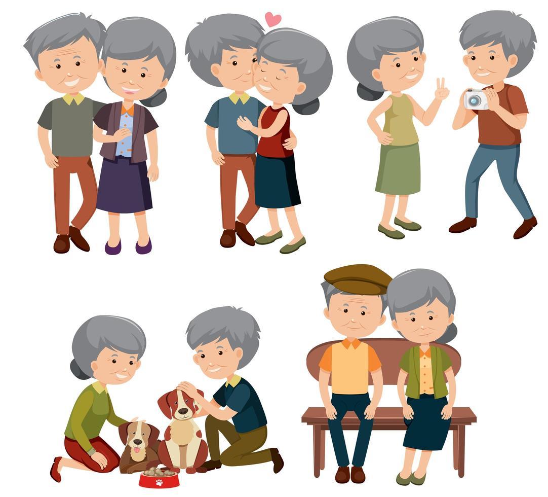 Un conjunto de pareja de ancianos vector