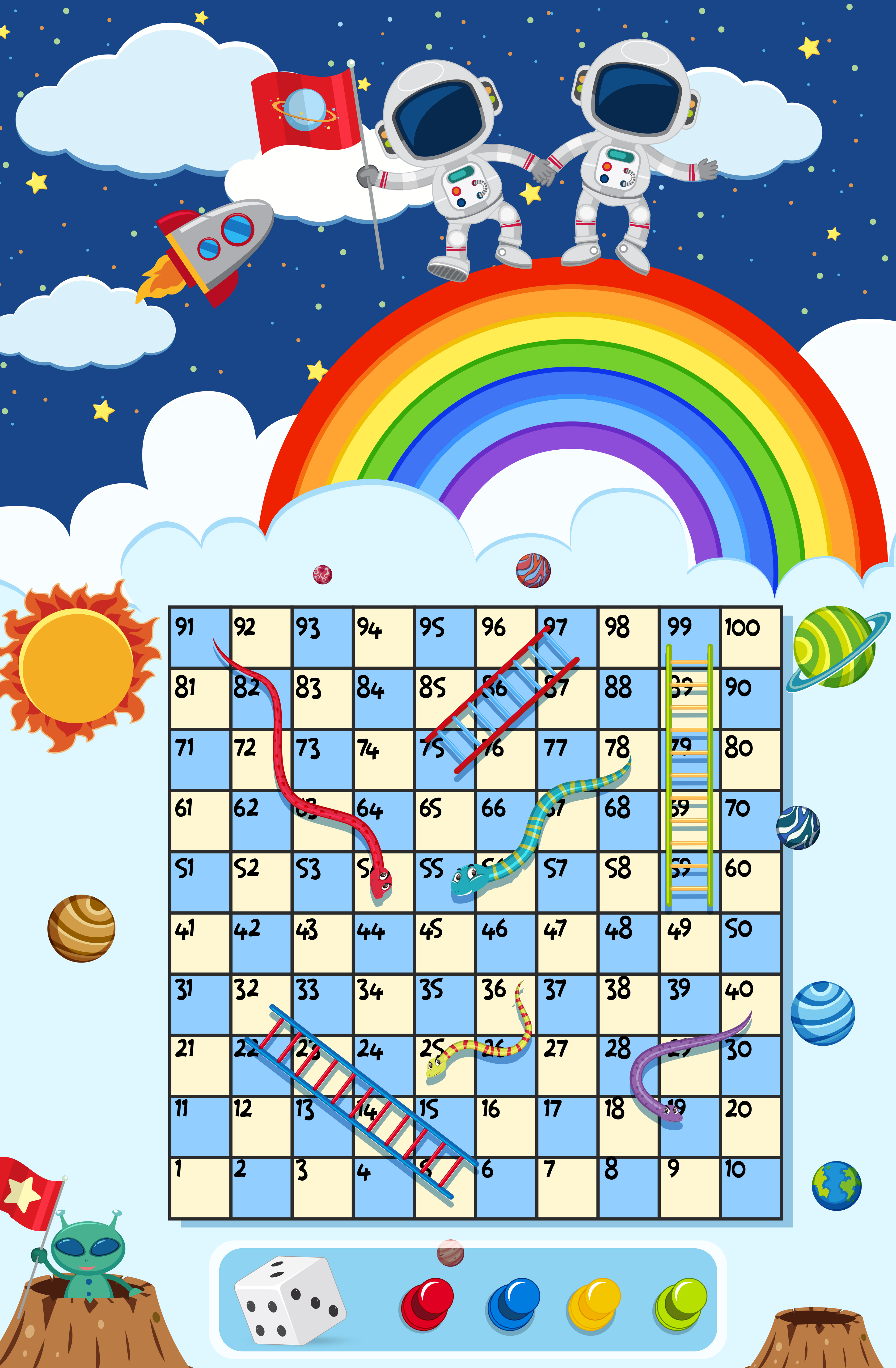 A Snake Ladder Game Space Theme Download Free Vectors Clipart Graphics Vector Art