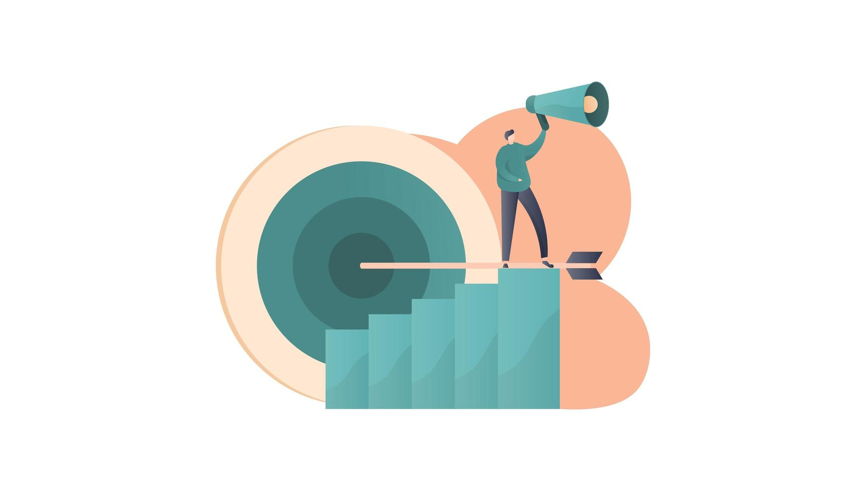 Growth strategy with man standing on graph holding megaphone vector