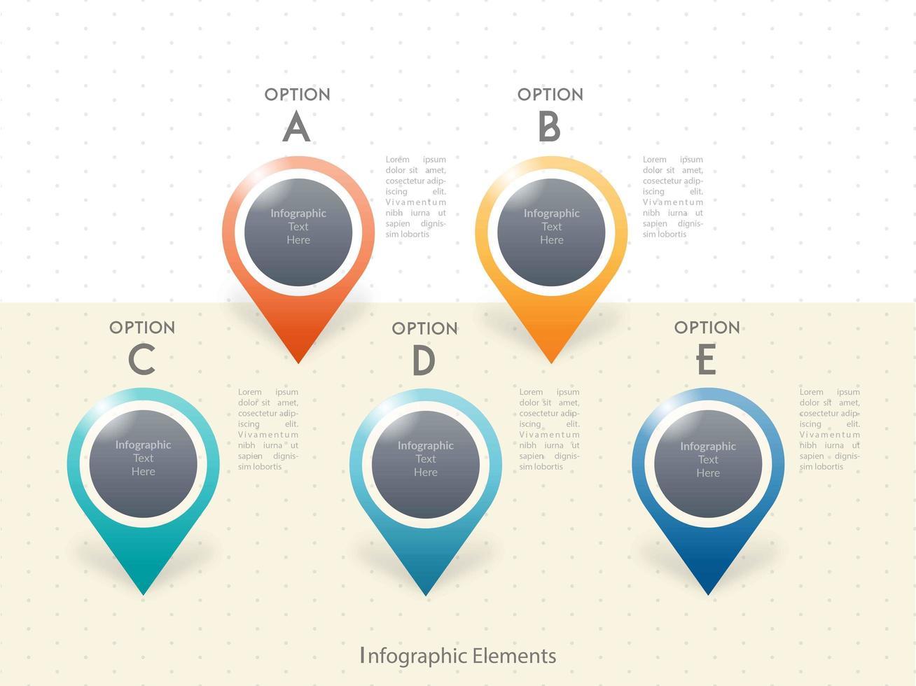 Conception de modèle d'infographie cinq options vecteur