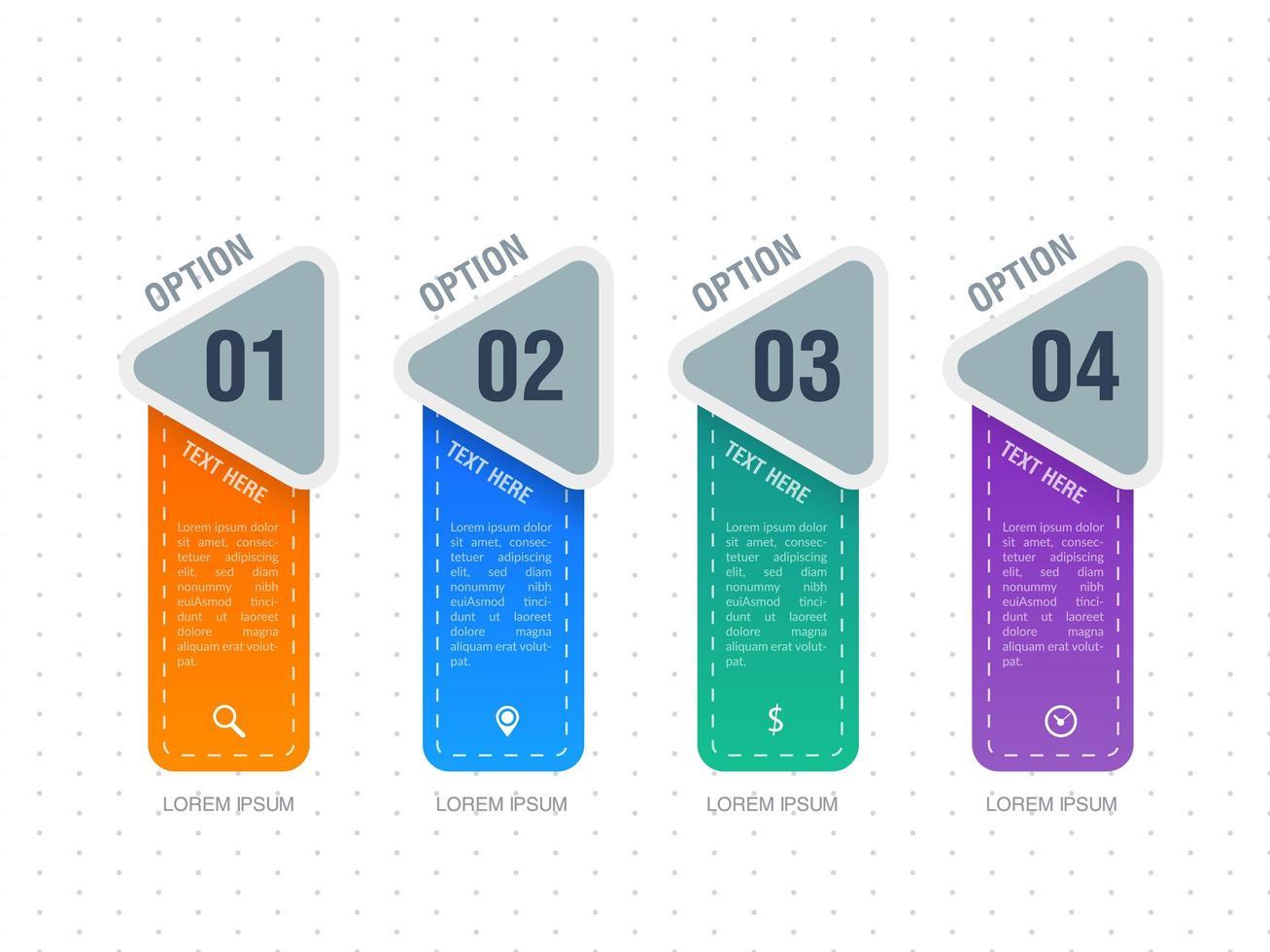 Infographic vier optiesjabloonontwerp vector