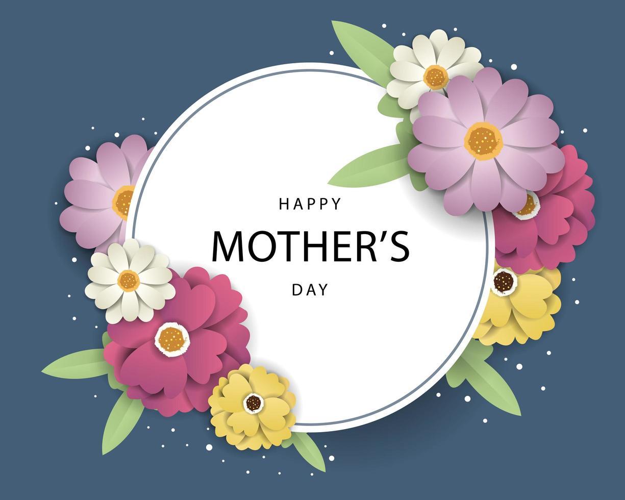 Cartão de dia das mães com moldura de círculo vetor