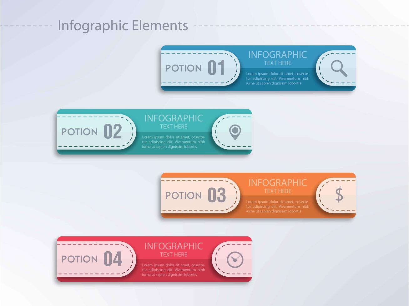 Design de modelo de passo horizontal infográfico vetor