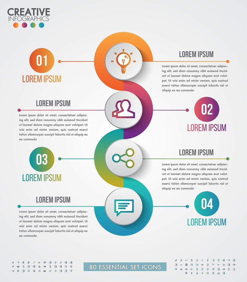 Negocio de plantilla de infografía con 4 pasos circulares vector