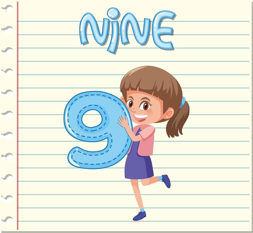 Menina segurando o número nove vetor