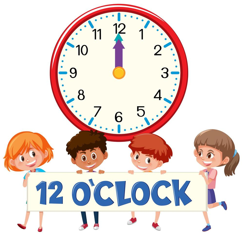 Kinderen en tijd 12 uur vector