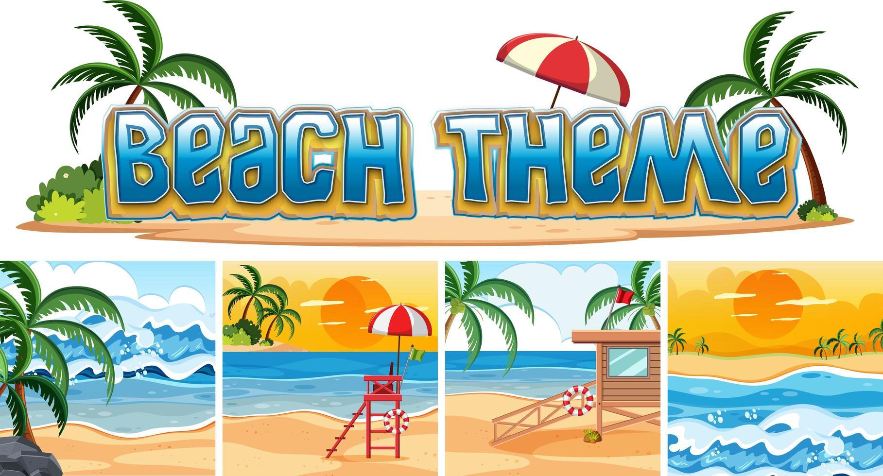 Set of beach background vector