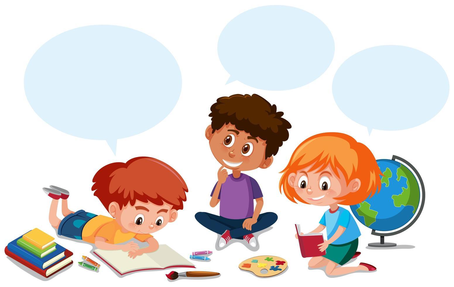 Étudiants heureux et bulle de dialogue vecteur