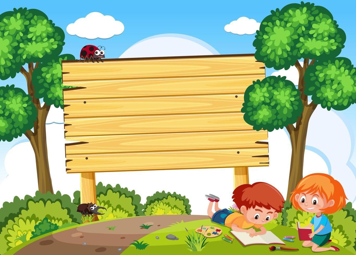 Kinderen studeren in de natuur en uithangbord vector