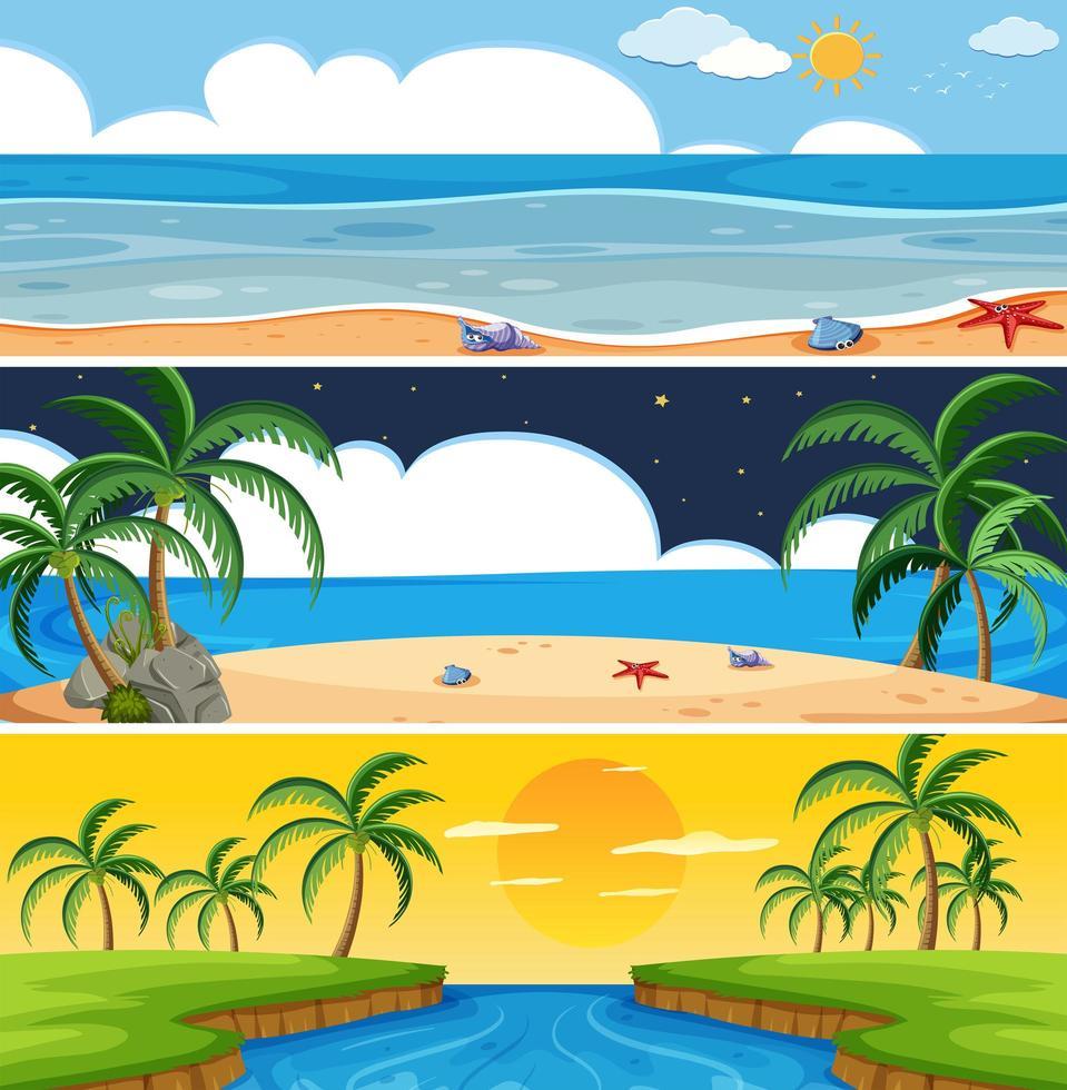 Set of summer beach landscape vector