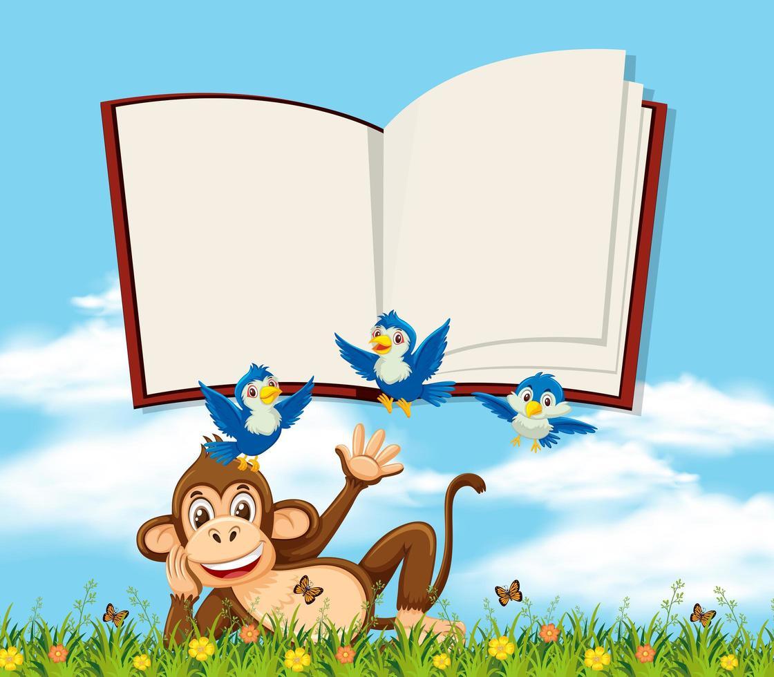 Een aap in de natuur met lege boeksjabloon vector