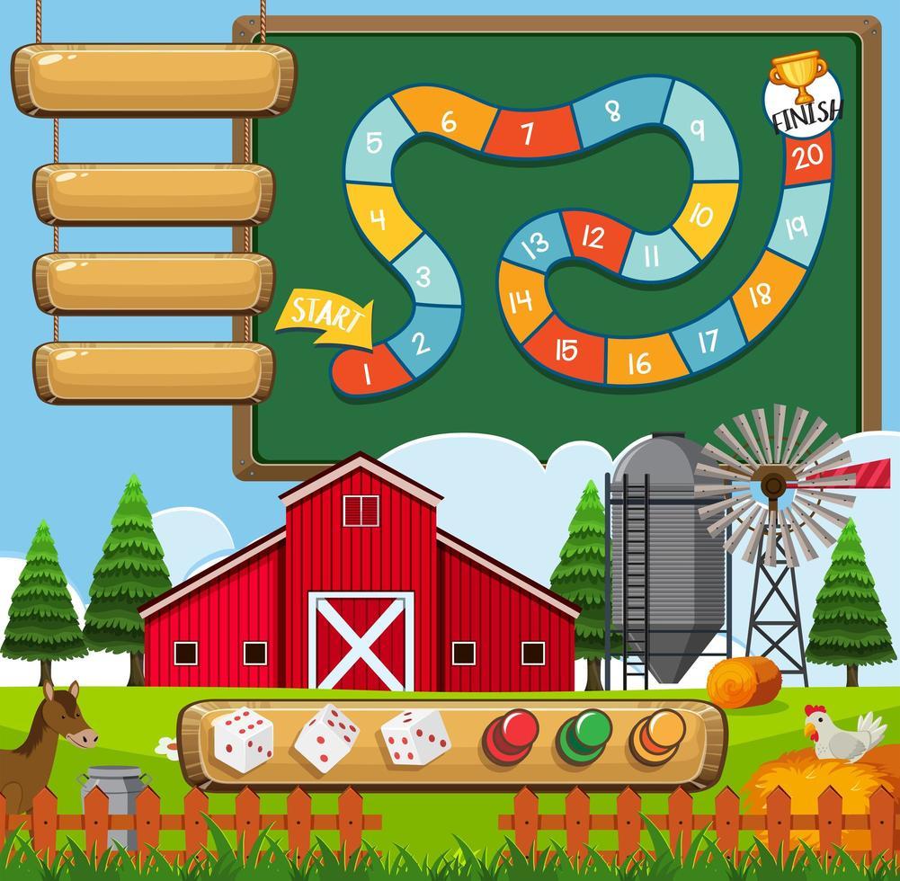 Een bordspel boerderij sjabloon vector