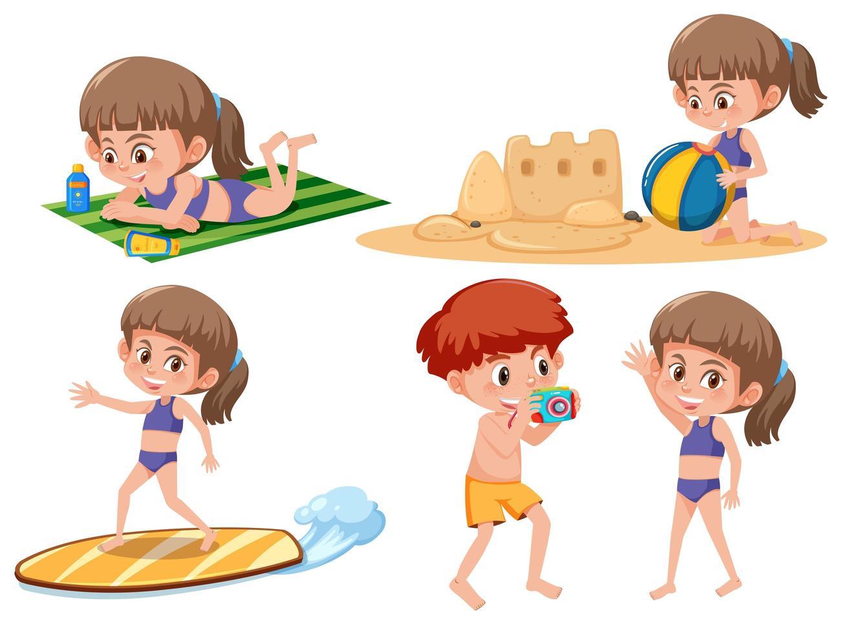 Aantal kinderen strandactiviteit vector