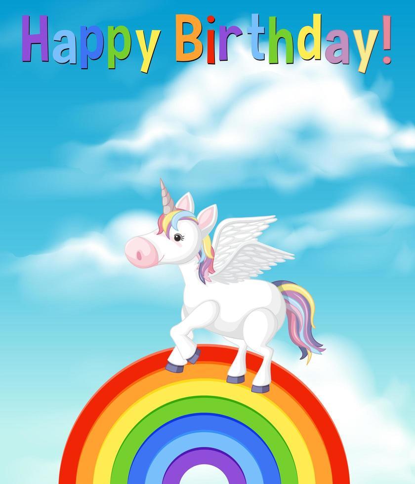 Un biglietto di buon compleanno con unicorno vettore