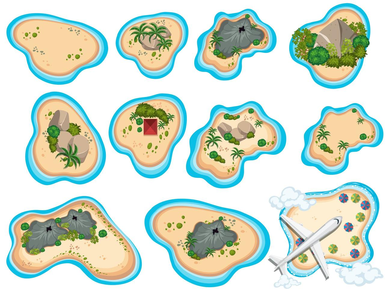A Set of Beautiful Tropical Island vector