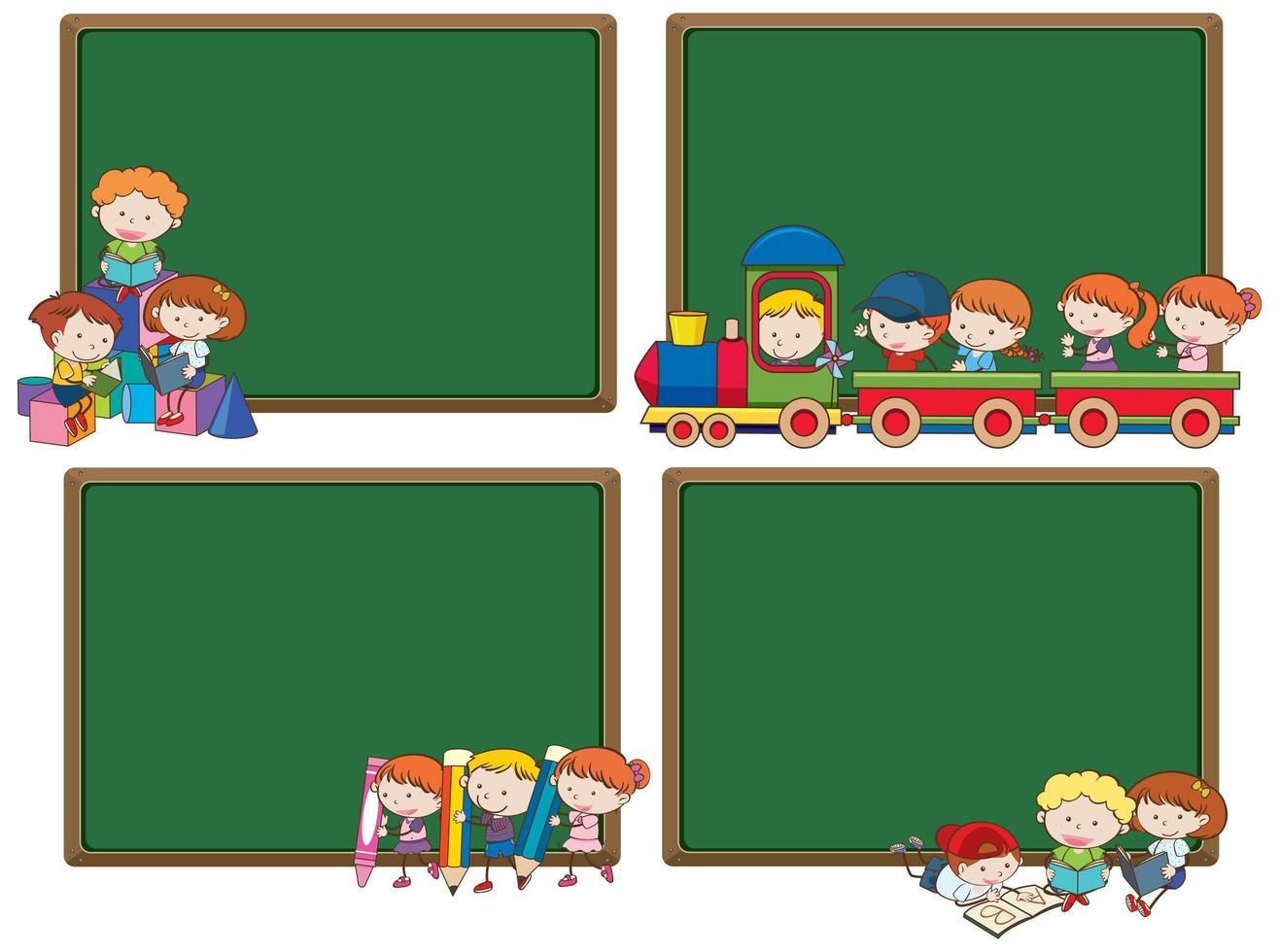 Groep student en schoolbord sjabloon vector