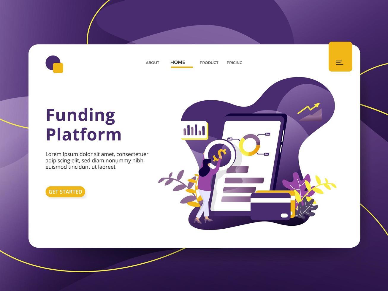 Landing page Funding Platform vector